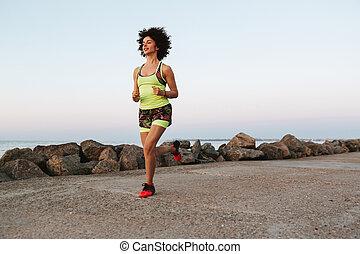 jovem, condicão física, corrida mulher, ao ar livre