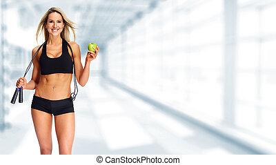 jovem, condicão física, mulher, com, apple.