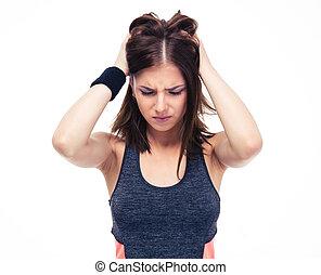 jovem, condicão física, mulher, com, dor de cabeça