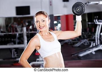 jovem, condicão física, mulher, exercitar