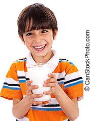 jovem, criança, prendendo um vidro, de, leite