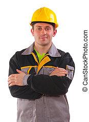 jovem, cruzado, trabalhador, isolado, braços