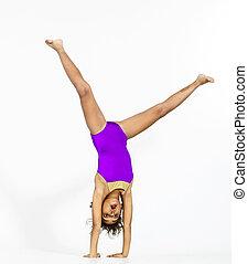 jovem, cute, afro-american, menina, fazendo, ginástica