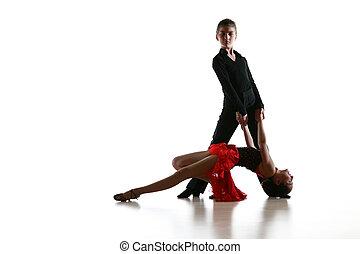 jovem, dançarinos, em, latim, dança posa