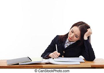 jovem, desk., asiático, estudante, problema, tendo