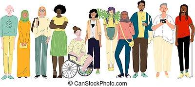 jovem, diversidade, social, pessoas., diferente, grupo