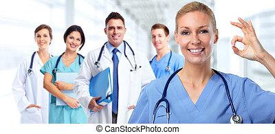 jovem, doutor médico, woman.