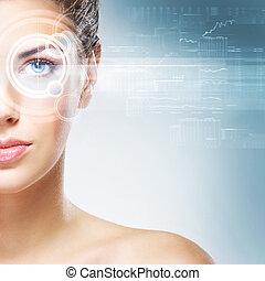 jovem, e, atraente, mulher, de, futuro, com, a, laser,...