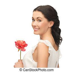 jovem, e, mulher bonita, com, flor