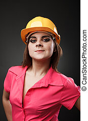 jovem, engenheiro, senhora, com, hardhat