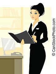 jovem, escritório, secretária