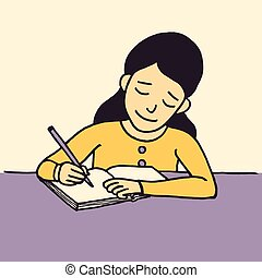 jovem, escrita, vetorial, escrivaninha, menina, caricatura