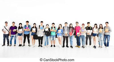 jovem, estudante, grupo, ficar, junto
