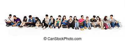 jovem, estudante, grupo, observar, esperto, telefone
