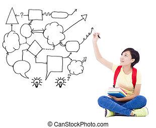 jovem, estudante, menina, mão, desenhar, idéia, e, análise, conceito, diagrama