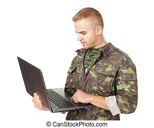jovem, exército, soldado, com, um, laptop