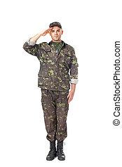 jovem, exército, soldado, saudando