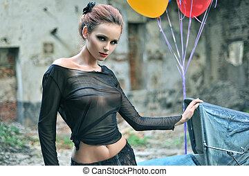 jovem, excitado, mulher, com, balões