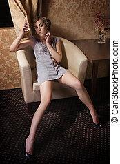 jovem, excitado, mulher, ligado, um, cadeira