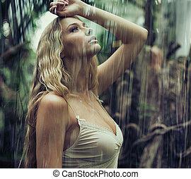 jovem, excitado, selva, mulher