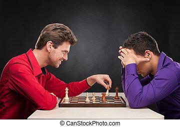jovem, experiência., em movimento, xadrez, pretas, sorrindo,...