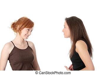 jovem, falando, dois, womans