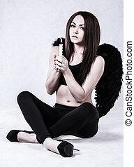 jovem, fantasia anjo, escuro, mulher, bonito