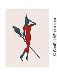 jovem, feiticeira, icon., feiticeira, silueta, com, um, cabo vassoura