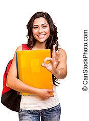 jovem, feliz, estudante, fazendo, tá bom sinal