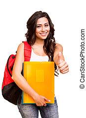 jovem, feliz, estudante, mostrando, polegares cima