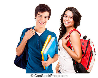 jovem, feliz, estudantes