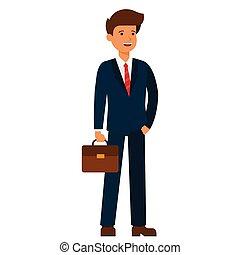 jovem, feliz, homem negócios, caricatura, apartamento, vetorial, ilustração, conceito, ligado, isolado, fundo branco