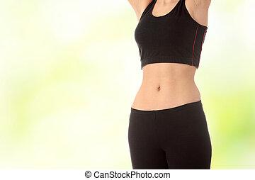 jovem, femininas, desportista, barriga, bonito