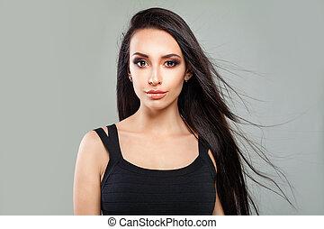 jovem, femininas, face., perfeitos, mulher, modelo moda, com, longo, saudável, cabelo