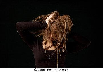 jovem, femininas, flicking, cabelo