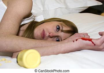jovem, femininas, tentando suicide, com, pílulas, e, corte, braço