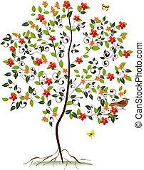 jovem, floresça árvore