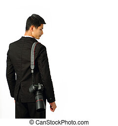 jovem, fotógrafo, com, um, câmera