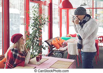 jovem, fotógrafo, com, um, menina