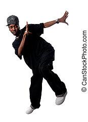 jovem, fundo, branca, fresco, hip-hop, homem