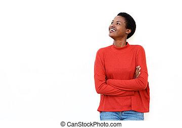 jovem, fundo, branca, isolado, cruzado, mulher, contra, sorrindo, africano, braços