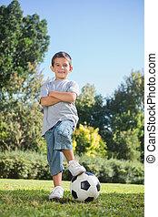 jovem, futebol, posar, menino