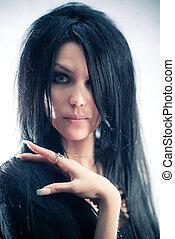 jovem, goth, retrato mulher