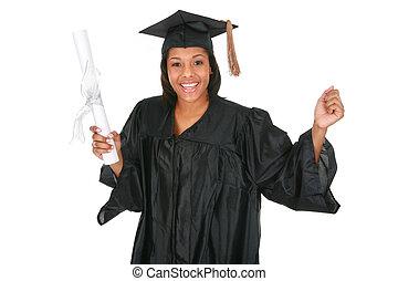 jovem, graduado, americano, africano feminino, feliz