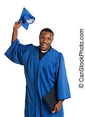 jovem, graduado, americano, estudante, macho africano, feliz