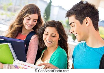 jovem, grupo, de, estudantes, em, campus