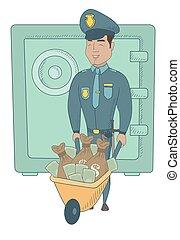 jovem, hispânico, policial, com, confiscated, dinheiro.