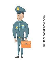 jovem, hispânico, policial, segurando, um, briefcase.