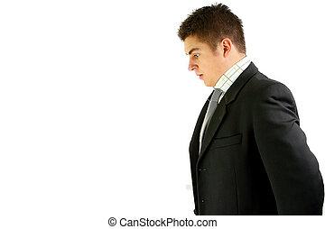 jovem, homem negócios, chocado