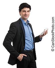 jovem, homem negócios, com, calculadora